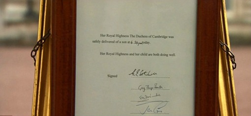 Royal Baby Notice