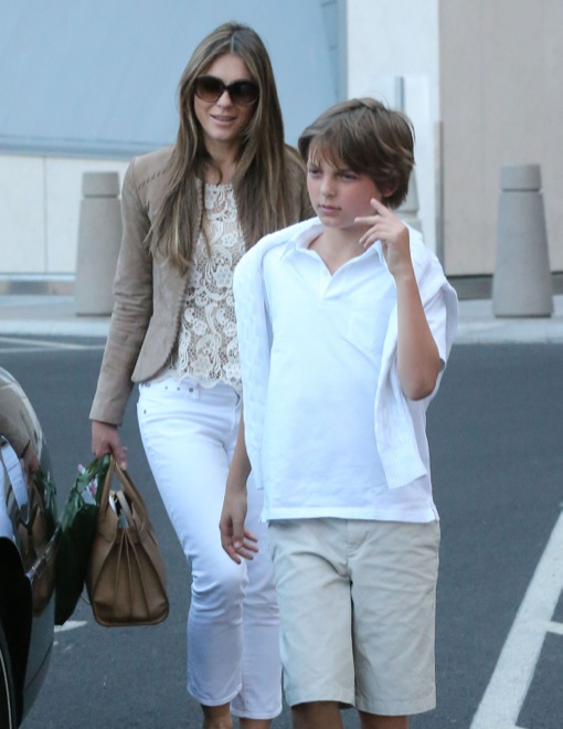 Elizabeth Hurley Touches Down With Son