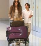 Elizabeth Hurley & Son Damian Arriving In Las Vegas