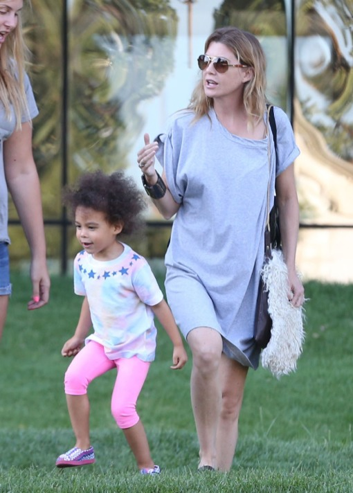 Exclusive... Ellen Pompeo Takes Her Daugher To The Pacific Design Center