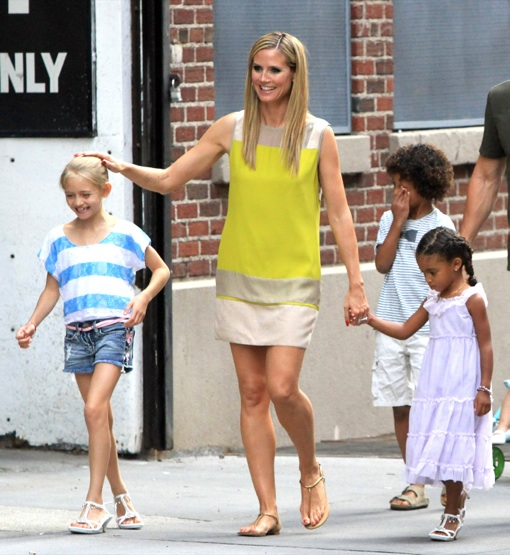 Heidi Klum Out For A Stroll With Her Family In NYC