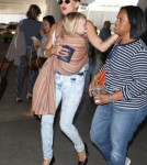Kate Hudson And Family Arriving On A Flight At LAX