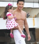 Mario Lopez & Daughter Gia Enjoying A Day On The Beach In Malibu