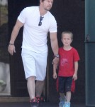 Semi-Exclusive... Mark Wahlberg & Son Brendan Leaving A Church In Los Angeles