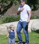 Exclusive... Mike Comrie Takes Luca To The Park