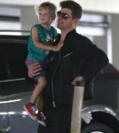 Exclusive... Robin Thicke Takes His Son To The Movies