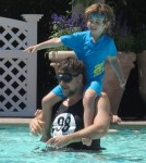 Exclusive... Russell Crowe Plays With His Sons In The Pool