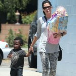 Sandra Bullock & Louis Head to a Birthday Party