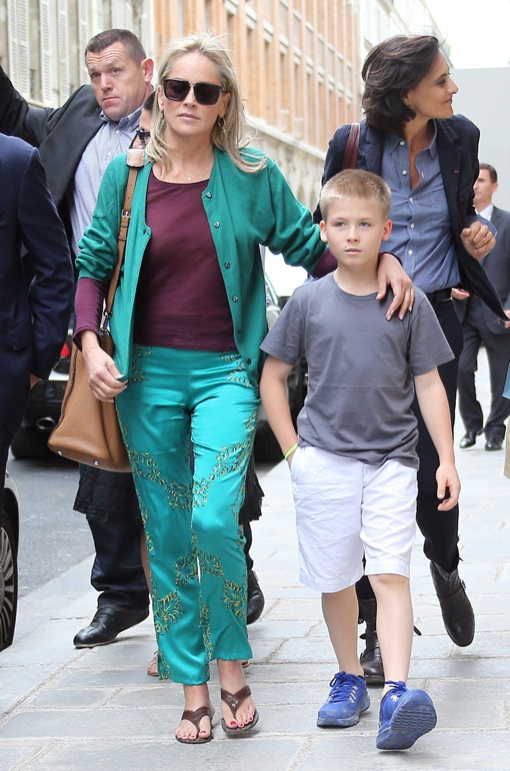 Sharon Stone Goes Braless On Shopping Trip With Her Son