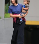 Exclusive... Shannyn Sossamon And Her Son Leaving Their Hotel