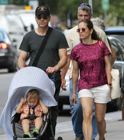 exclusive robert downey jr amp family out for a walk in