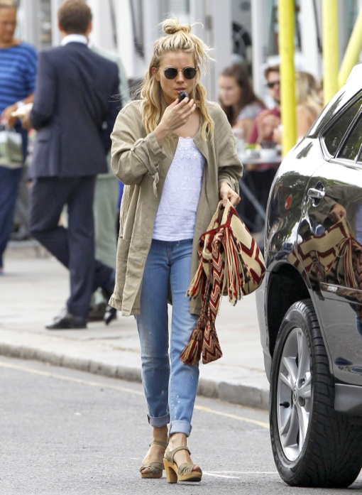 Exclusive... Sienna Miller Steps Out With Her Daughter