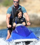 Sylvester Stallone Jet Skis With Daughter in St Tropez
