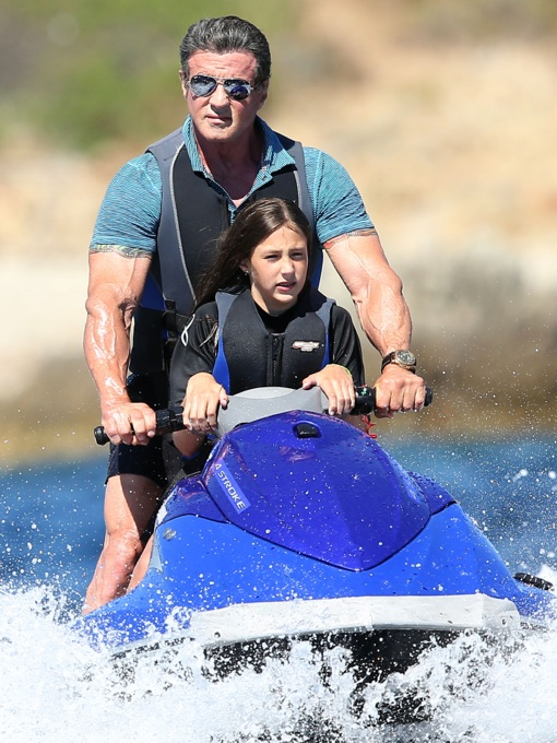 Sylvester Stallone Jet Skis With Daughter In St Tropez Celeb Baby Laundry
