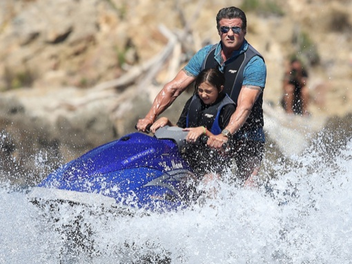 Sylvester Stallone Jet Ski's With Daughter In Saint Tropez