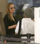 Angelina Jolie & Kids Departing On A Flight At LAX