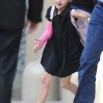 Suri Cruise And Her Pink Cast Leaving School In New York City