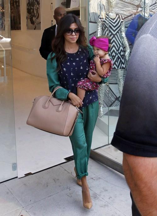 Kourtney Kardashian and Her Daughter Penelope Wearing A Turban Visit Her Dash Store