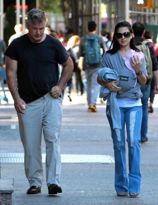 Alec Baldwin & Hilaria Take A Walk With Baby Carmen