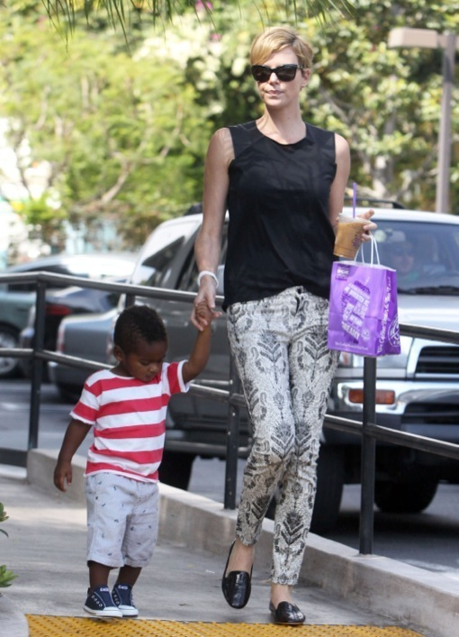 Exclusive... Charlize Theron Stops By Coffee Bean With Jackson