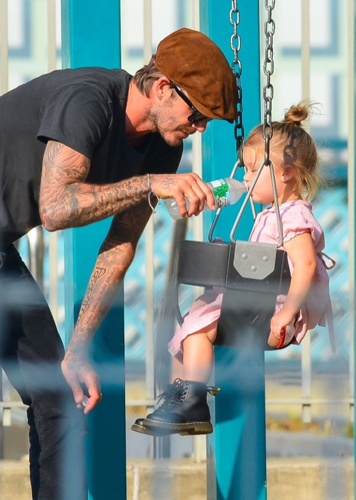 David Beckham Takes Daughter Harper To The Park