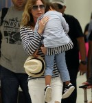 Ellen Pompeo Arriving On A Flight At LAX With Her Family