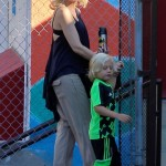 Gwen Stefani Hides A Tiny Baby Bump While Dropping Off Zuma at School