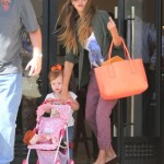 Jessica Alba Luxury Shops With Her Stroller Pushing Tot