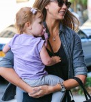 Jessica Alba & Daughter Haven Returning To Their Hotel