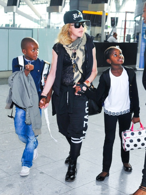 Madonna Amp Kids Catch A Flight Out Of Heathrow Celeb Baby