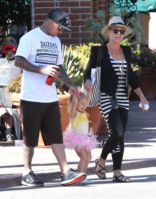 Pink & Carey Hart Take Their Tutu Toddler To Breakfast