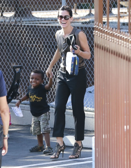 Sandra Bullock Picking Louis Up From School