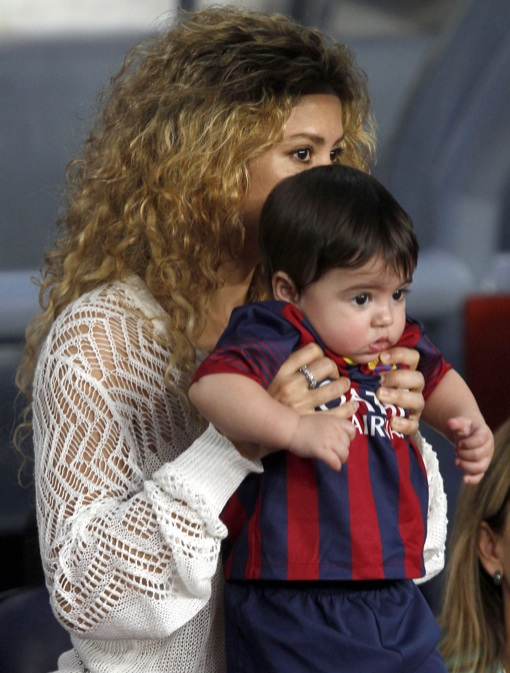 Shakira & Milan Cheer on Gerard Pique at FC Barcelona Game