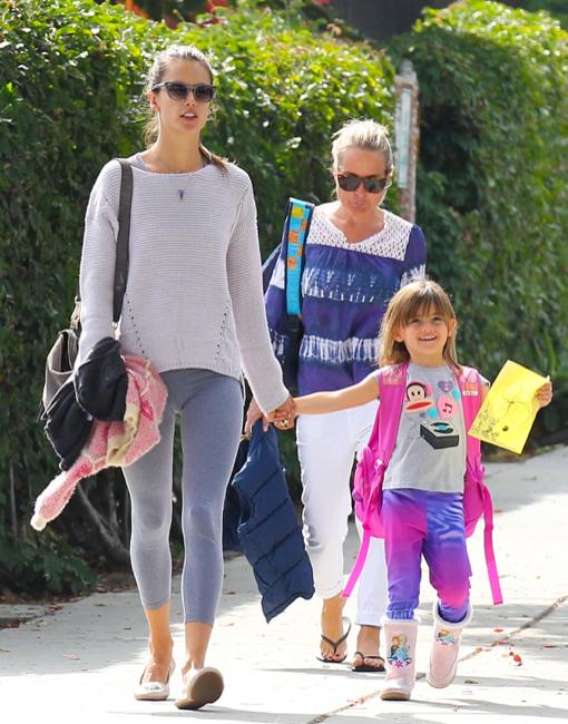 Alessandra Ambrosio Picks Anja Up From School