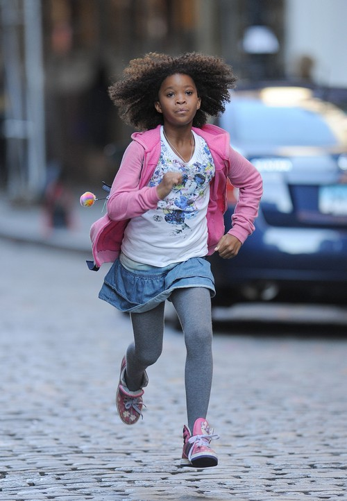 "Quvenzhane Wallis On The Set of ""Annie"" In NYC"