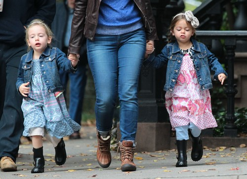 The Broderick Twins Out With Their Nanny In New York