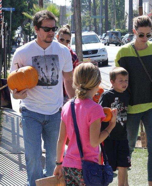 Mark Wahlberg His Wife Rhea Durham and Their Children Get Ready for Halloween by Picking out Pumpkins