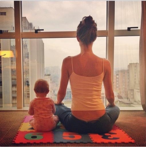 Gisele Bundchen & her Mini-Me Meditate