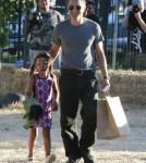 Olivier Martinez & Step Daughter Nahla Visit Mr. Bones Pumpkin Patch