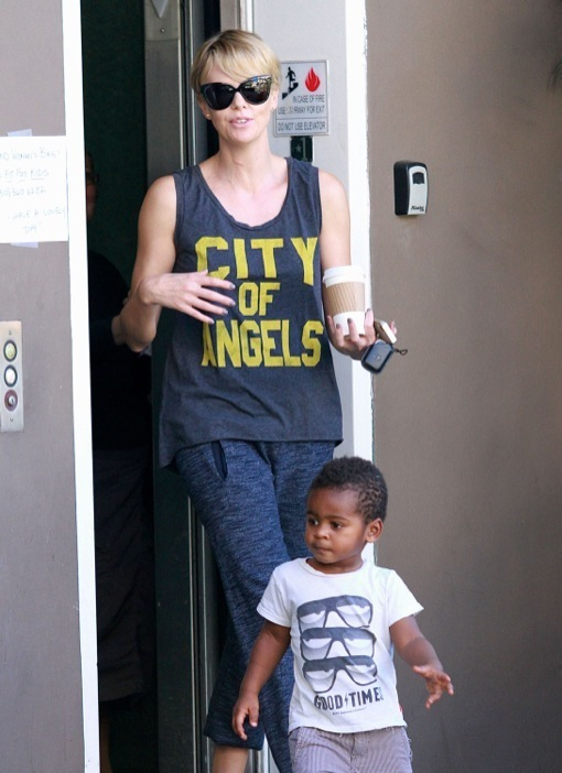 Charlize Theron Out And About With Jackson