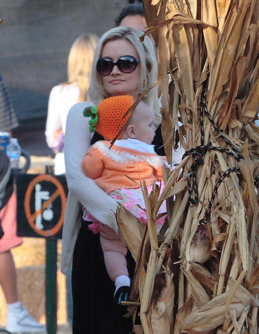 Holly Madison Takes Rainbow To Visit Mr. Bones Pumpkin Patch