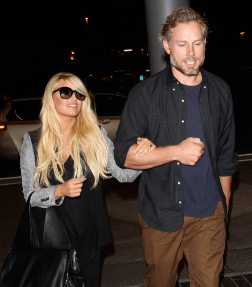 Jessica Simpson & Eric Johnson Departing On A Flight At LAX