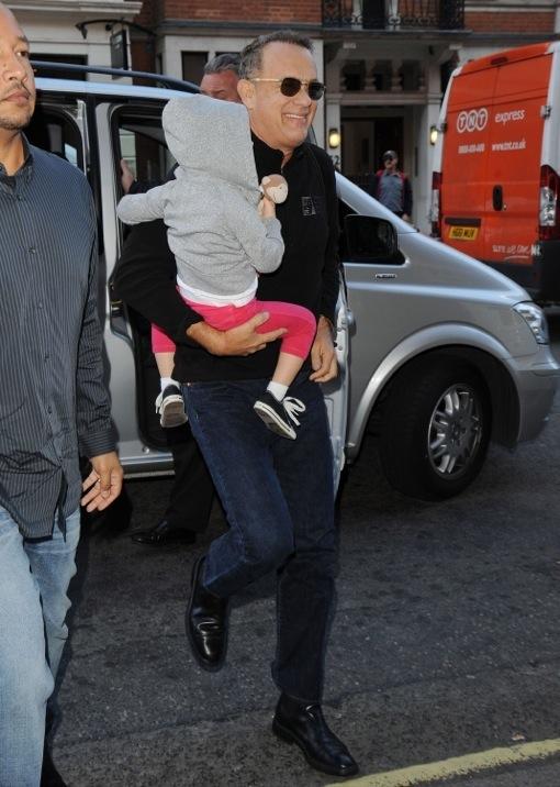 Grandpa Time! Tom Hanks Takes Granddaughter Olivia to London
