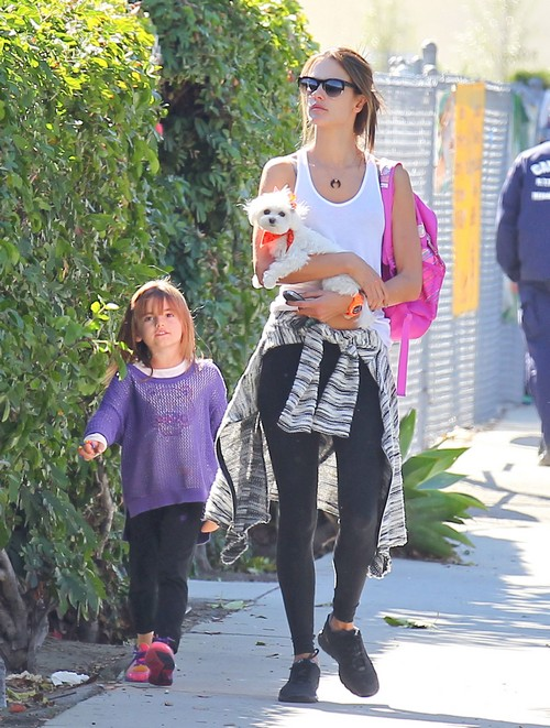 Alessandra Ambrosio and Her Little Dog Pick Anja Up From School