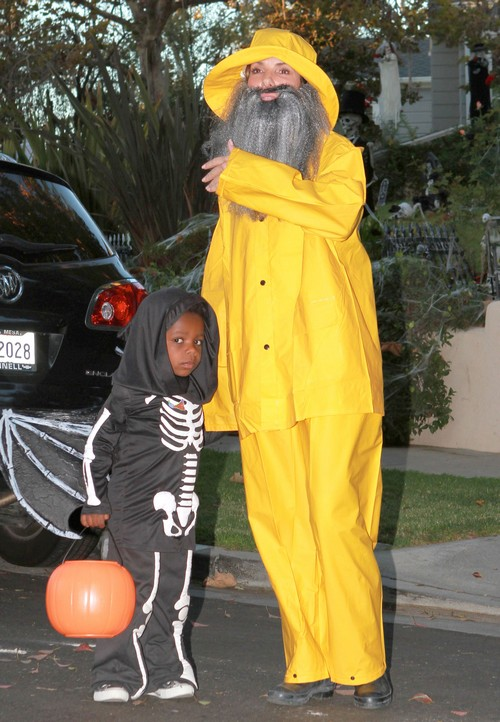 Sandra Bullock and Melissa McCarthy Disguised as Fishermen and Sandra's Son Louis as a Skeleton for Halloween