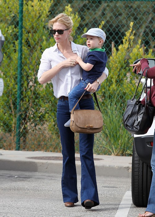 January Jones Takes Her Adorable Son Xander For A Haircut