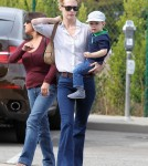 January Jones Takes Her Son To Get A Haircut