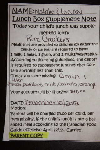 Manitoba Mother Daycare Fine