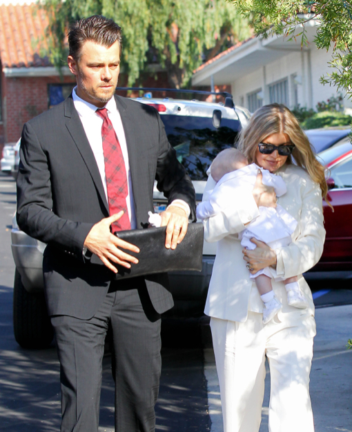 Josh Duhamel & Fergie Take Baby Axl To His Baptism