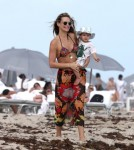 Molly Sims & Family Enjoy A Day At The Beach